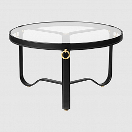 Стол Gubi Adnet Coffee Table - Circular, Ø70, черная кожа
