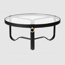 Стол Gubi Adnet Coffee Table - Circular, Ø100, черная кожа